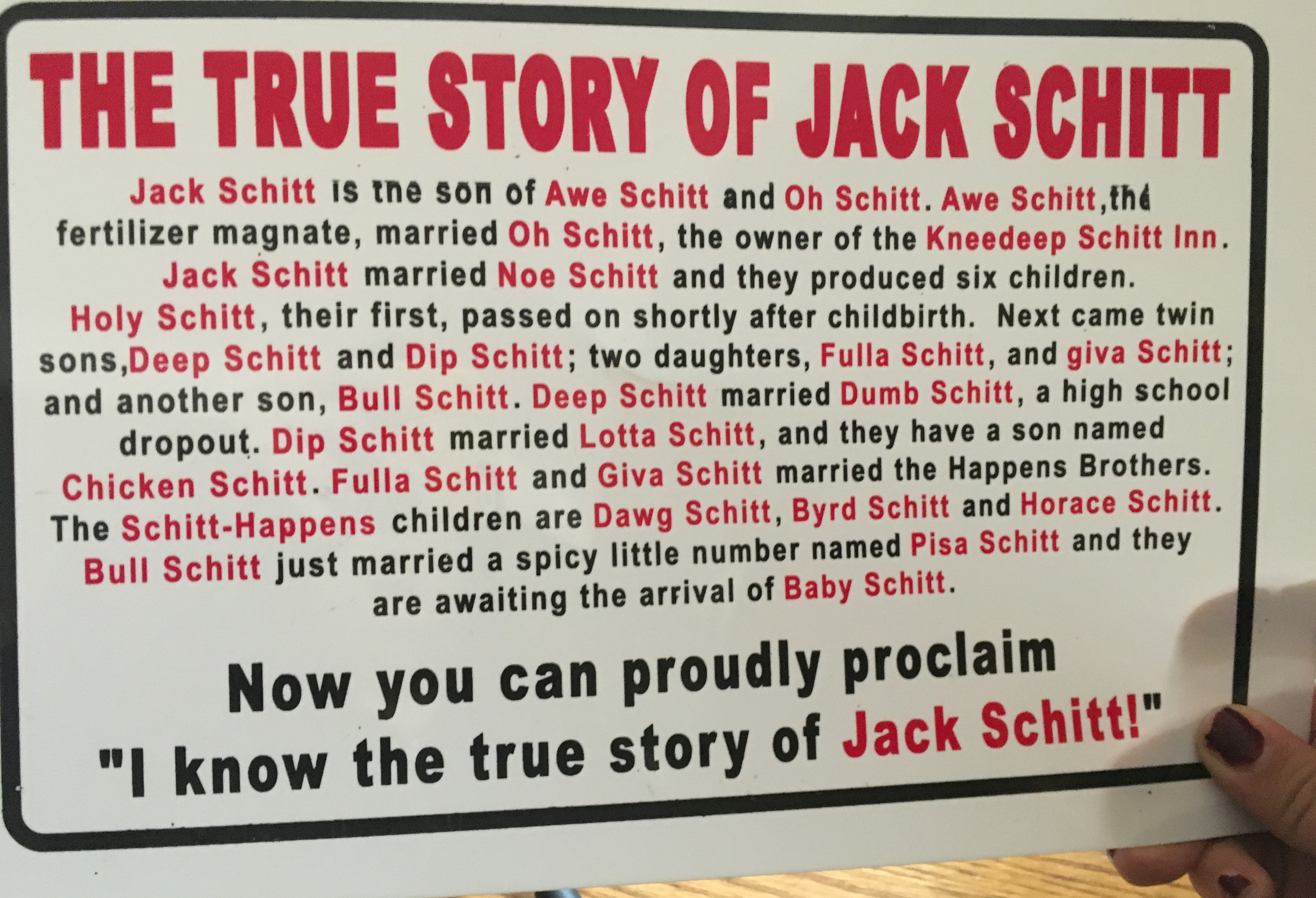 The true story of jack schitt